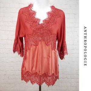 MOULINETTE SOEURS Silky Lace Peasant Blouse Top